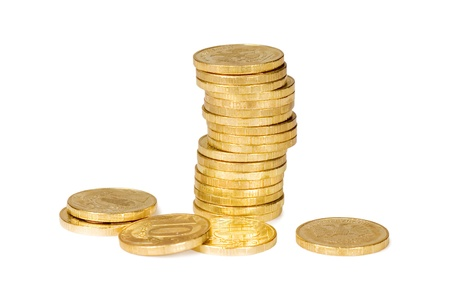 golden coins: Golden coins isolated on white background