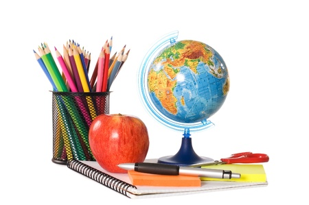 The globe with pencils isolated Stock Photo - 9365882