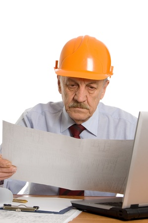 Engineer at the computer isolated Stock Photo - 9362839