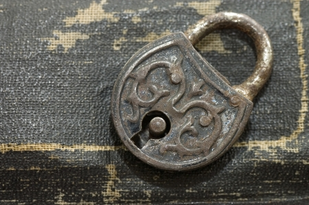 The old lock isolated on a leather background photo