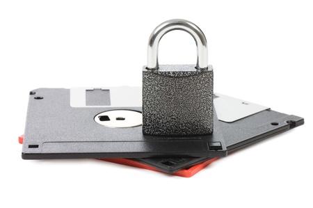 Floppy disks isolated on white background photo