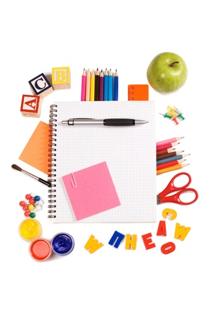 Pencils and apple - concept school photo