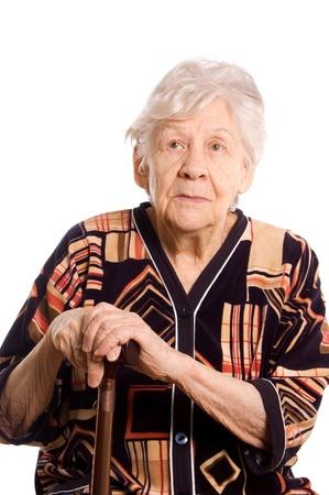 Retrato de la anciana aislado en blanco Foto de archivo