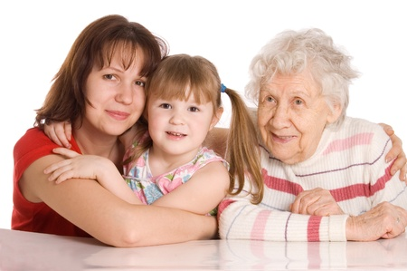 The elderly woman with the granddaughter photo