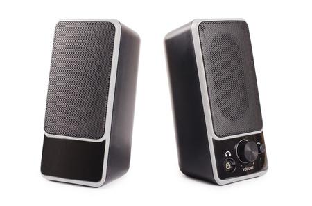 Black two speaker  isolated on background photo