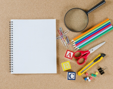 Vaus school accessories on �orkboard Stock Photo - 9412923