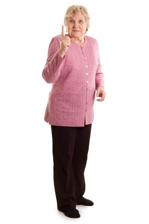 threatens: Elderly woman threatens with a finger Stock Photo