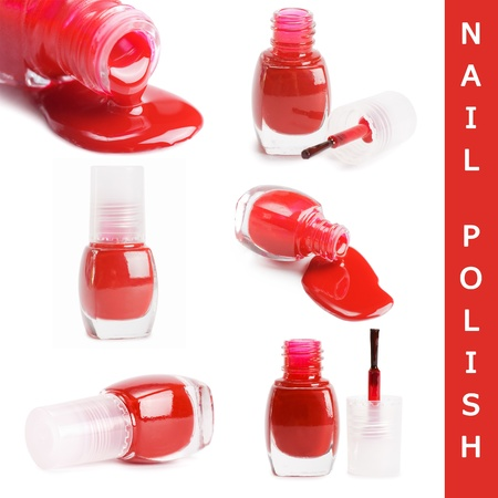 Red nail polish isolated on a white background photo