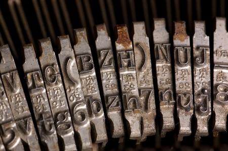 typebar: Old text typing typewriter letter typebar Stock Photo