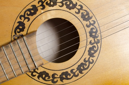 Close-up old acoustic guitar as background photo