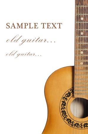 gitara: Gitara akustyczna wyizolowanych białego