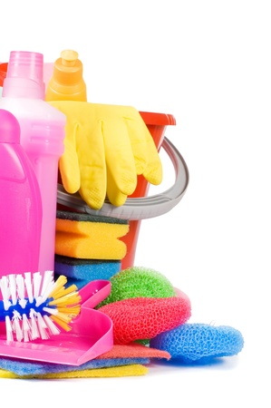 Assortment of means for cleaning isolated Stock Photo - 9545444