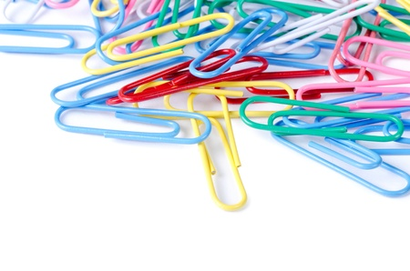 Close-up of multi-colored paper clips photo