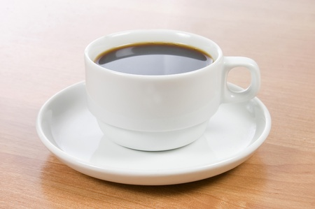 coffe break: Cup of black coffee on a wooden table