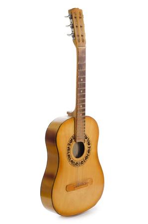 guitarra acustica: Guitarra acústica aislado en un blanco Foto de archivo
