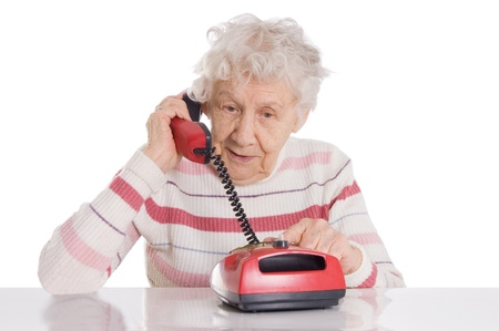 The elderly woman speaks on phone Stock Photo - 9609730
