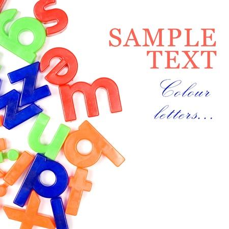 języki: Z tworzywa sztucznego litery angielskie wyizolowanych biaÅ'y Zdjęcie Seryjne