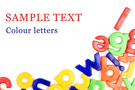 Plastic English letters isolated on white photo