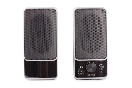 two party system: Black two speaker  isolated on background Stock Photo
