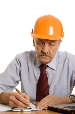 Engineer at the computer isolated Stock Photo - 9609765