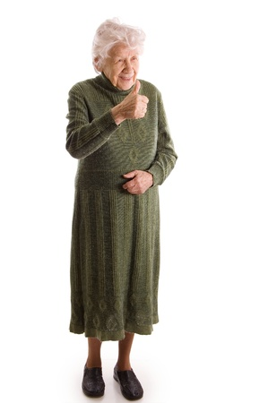 aging woman: The elderly woman isolated on white