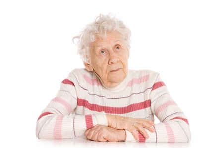 senior pain: Portrait of old woman isolated Stock Photo