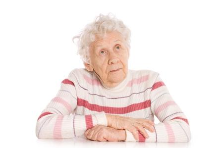 sad old woman: Retrato de mujer aislada Foto de archivo