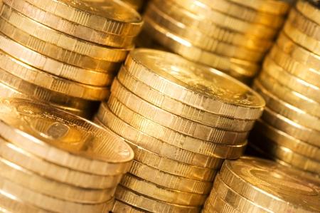 monedas antiguas: Las monedas de oro de cerca de fondo Foto de archivo