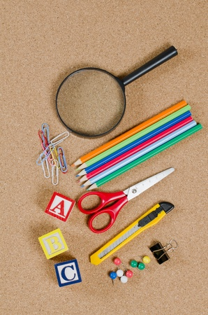 Various school accessories on �orkboard photo