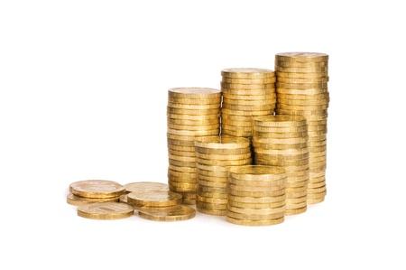 Gold coin: Đồng tiền vàng bị cô lập trên nền trắng