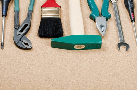 The set building tools on a corkboard photo