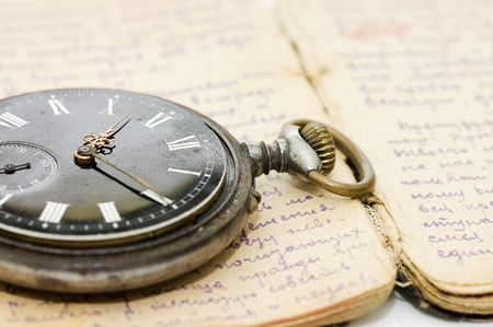 watch on old notebook with the text photo
