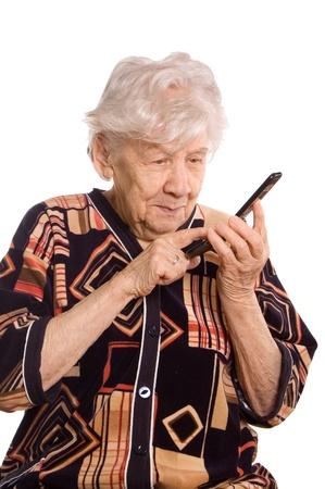 speaks: The elderly woman speaks on the phone