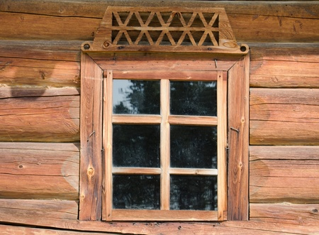panes: Window in the old wooden house close-up