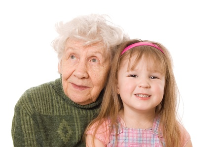 The elderly woman with the grand daughter photo