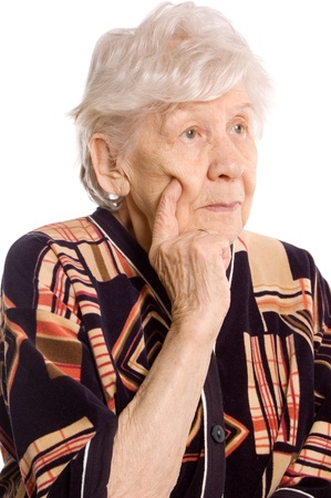 Portrait of the old woman on white photo