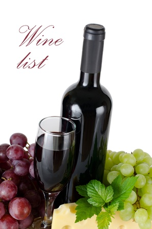 Red wine glass isolated on white background photo
