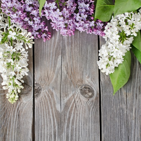 flower arrangement: The beautiful lilac on a wooden surface