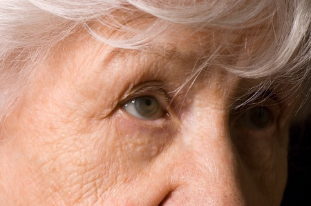 sad eyes: Portrait of the old woman close up Stock Photo