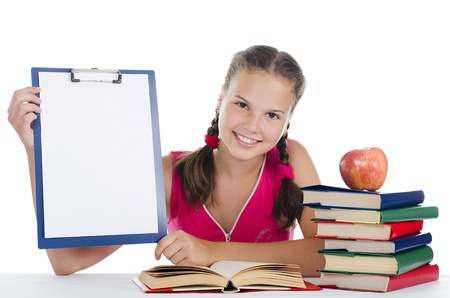 Portrait of the young girl with books photo