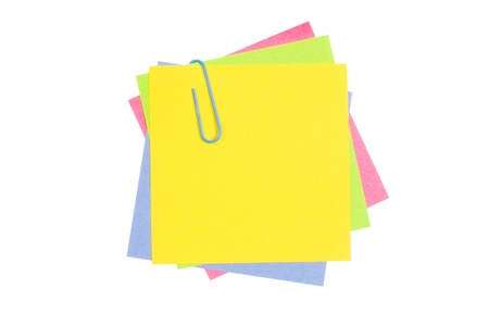 collate: Colour paper with a paper clip isolated