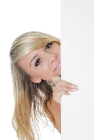 Portrait of woman holding a blank billboard Stock Photo - 10036446