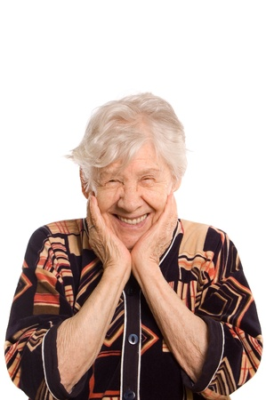 abuela: Retrato de anciana aislado en blanco