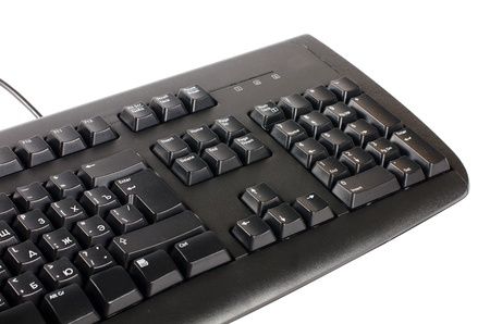 clique: The black computer keyboard isolated on background Stock Photo