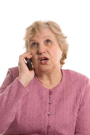 The elderly woman speaks on the phone Stock Photo - 10397865