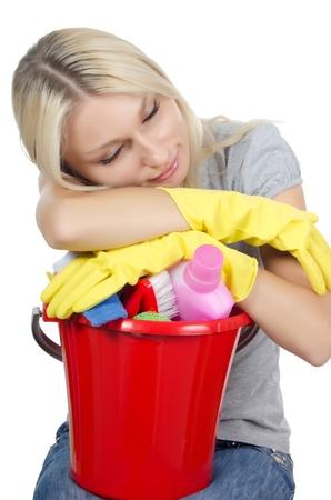 servicio domestico: El retrato de la muchacha - Concepto de limpieza