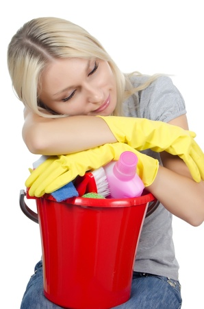 housewife gloves: The portrait of girl - concept Cleaning