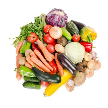 vegetarian food: Assortment of fresh vegetables  isolated on white Stock Photo