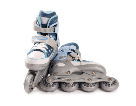 roller blade: Childrens new rollers isolated on white background