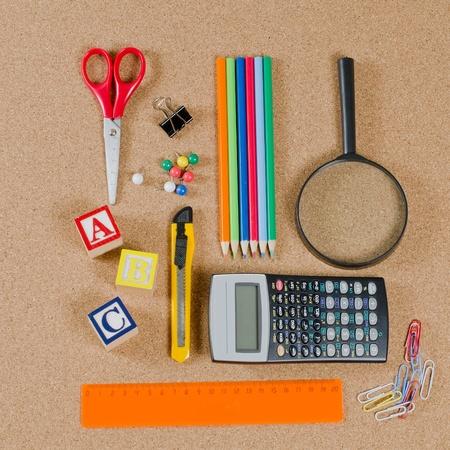 Various school accessories on сorkboard. School concept Stock Photo - 10575125